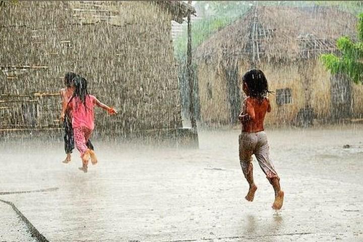 Em hãy tả cơn mưa quê em