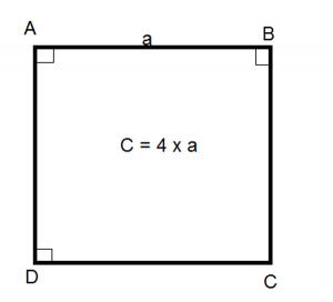 Công thức tính chu vi hình vuông