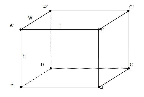 Hình ảnh hình hộp chữ nhật và công thức tính diện tích xung quanh, diện tích toàn phần và thể tích hình hộp chữ nhật