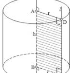 Công thức tính diện tích đáy, diện tích xung quanh, diện tích toàn phần và thể tích hình trụ tròn.