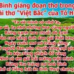 """Bình giảng đoạn thơ trong bài thơ """"Việt Bắc"""" của Tố Hữu"""